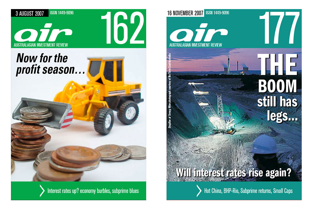 Covers Of Issues 162 And 177 Of The Australian Investment Review Online Magazine.