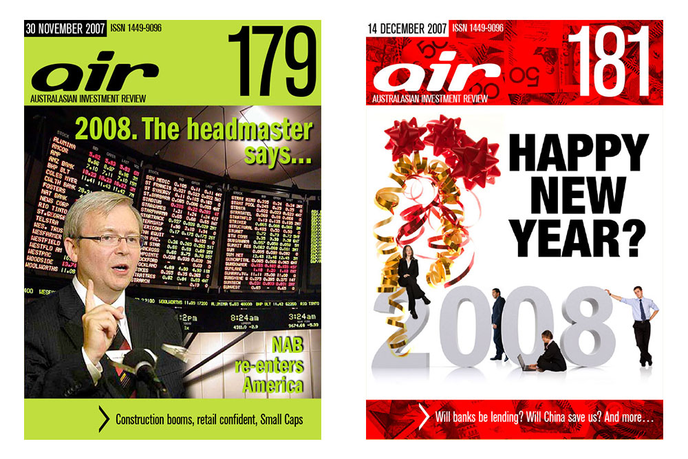 Covers Of Issues 179 And 181 Of The Australian Investment Review Online Magazine.