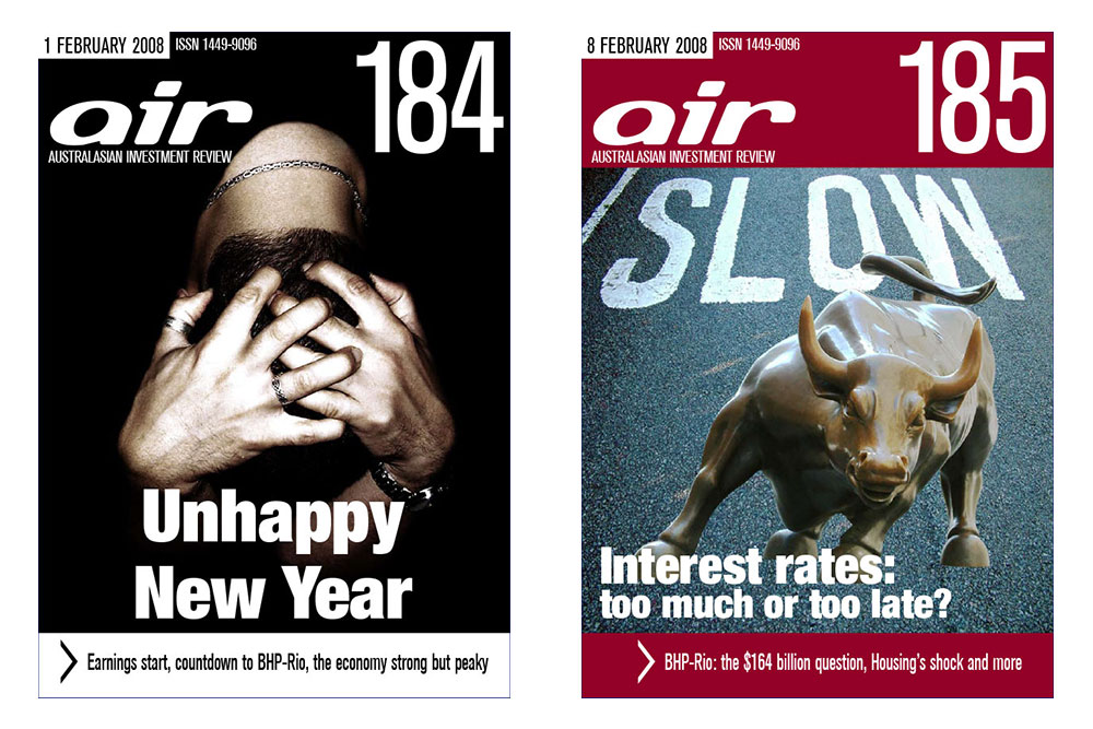 Covers Of Issues 184 And 185 Of The Australian Investment Review Online Magazine.