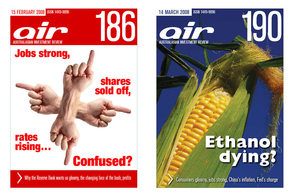 Covers Of Issues 186 And 190 Of The Australian Investment Review Online Magazine.