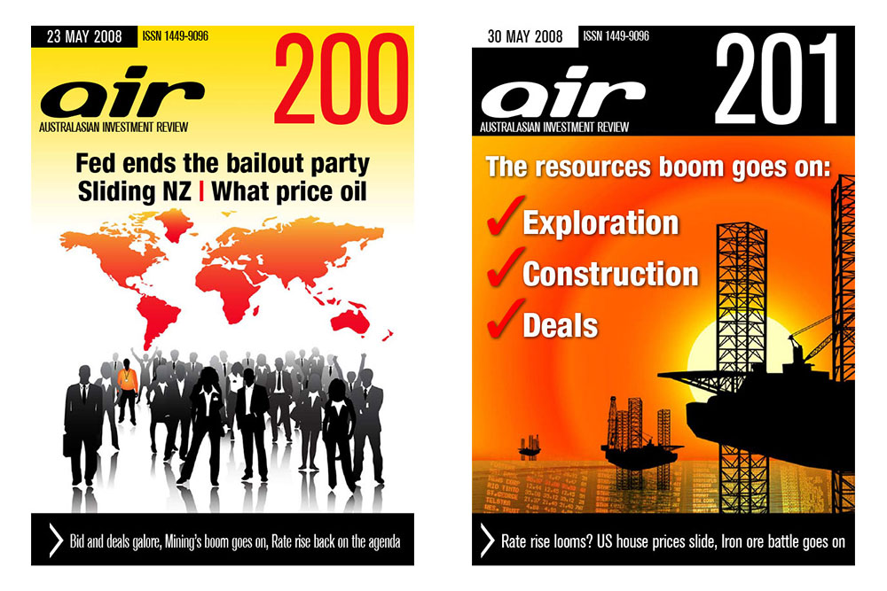 Covers Of Issues 200 And 201 Of The Australian Investment Review Online Magazine.
