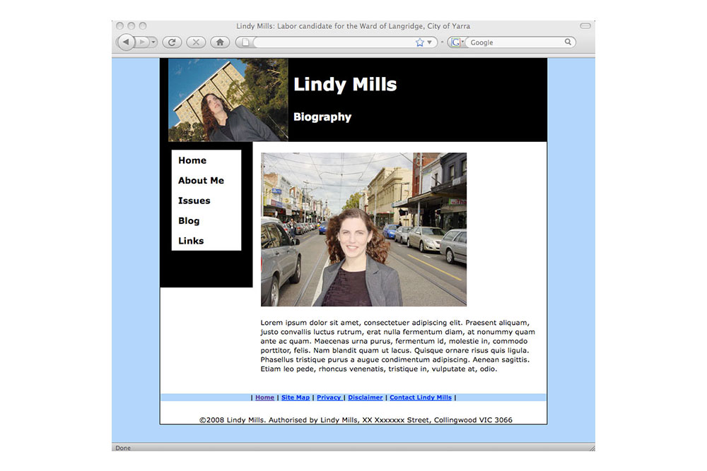 Website For Lindy Mills.