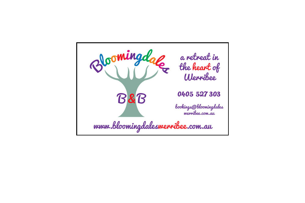 Bloomingdales B&B Business Card. Single Sided, Four Colour In Landscape Format Printed On 300gsm Card.