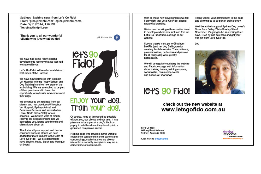 Let's Go Fido! New Brand Launch Announcement EDM. Personalised, Branded, Database Driven, Legally Compliant.