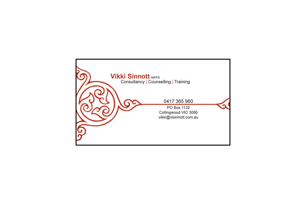 Vikki Sinnott Business Card. Single Sided, Two Colour Special, Printed On 300gsm Recycled Paper.