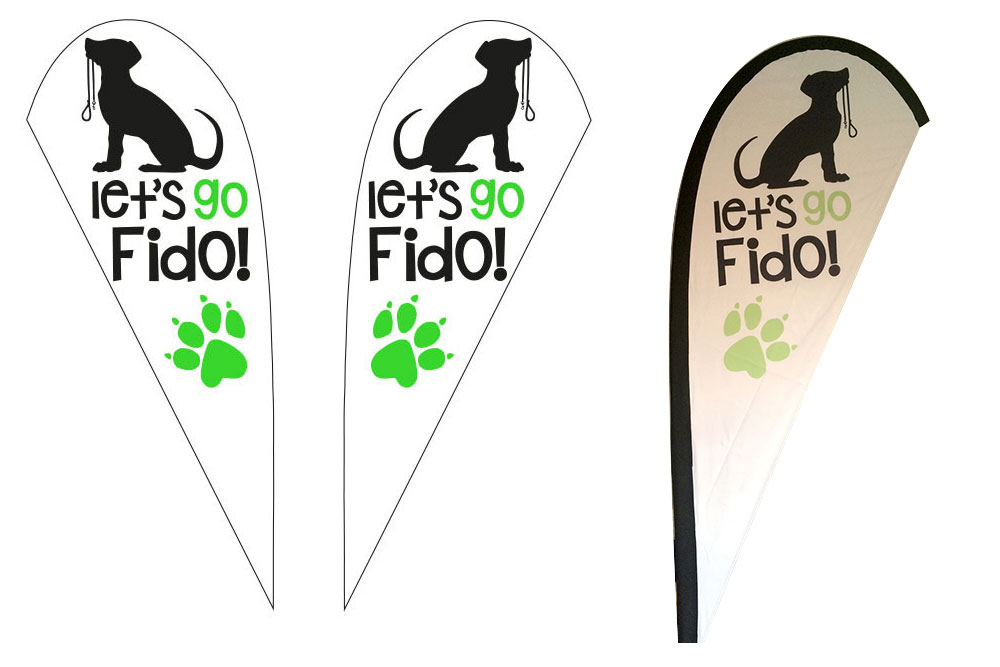 Let's Go Fido! Promotional Flag. 2.2 Metre Double Sided Teardrop Flag.
