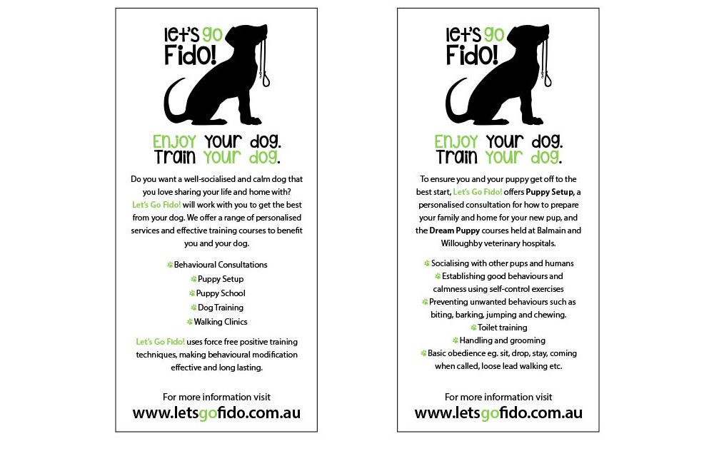Let's Go Fido! DL Promotional Flyers. Double Sided, Four Colour Printed On 120gsm Paper.