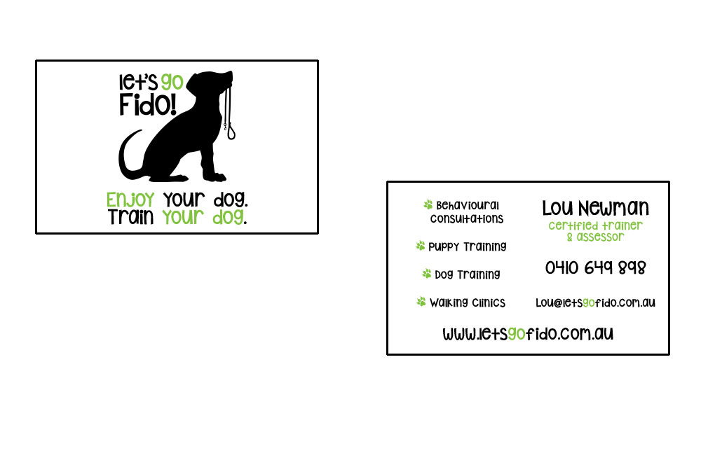 Let's Go Fido! Business Card. Double Sided, Two Colour Printed On 300gsm Card.
