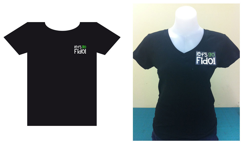 Let's Go Fido! Staff T-shirts. Printed On Black V-neck Cotton T-shirts With Logotype In Digital Vinyl.