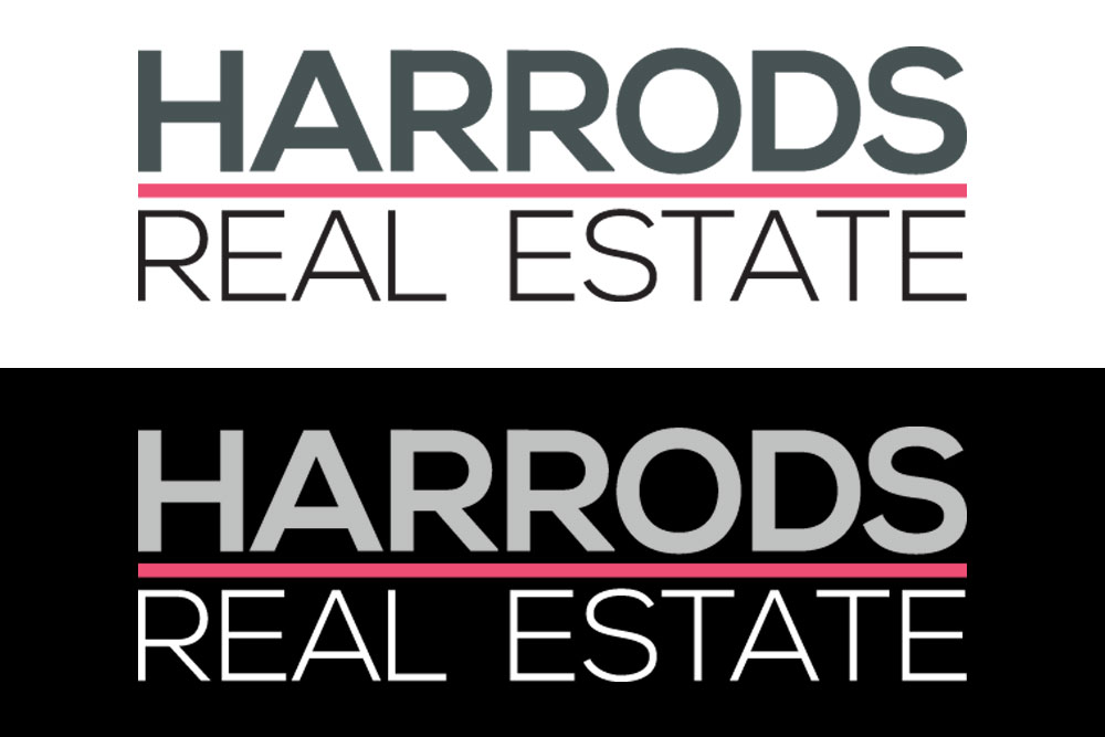 Harrods Real Estate Logo Designs With Branding Of A Strong Pink And Dark Grey In A Strong Professional Typeface. The Reverse Version Of The Logo Has A Light Grey/white Type Variation.